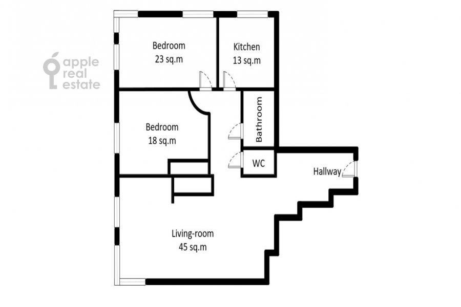Поэтажный план 3-комнатной квартиры по адресу Минская ул. 1г