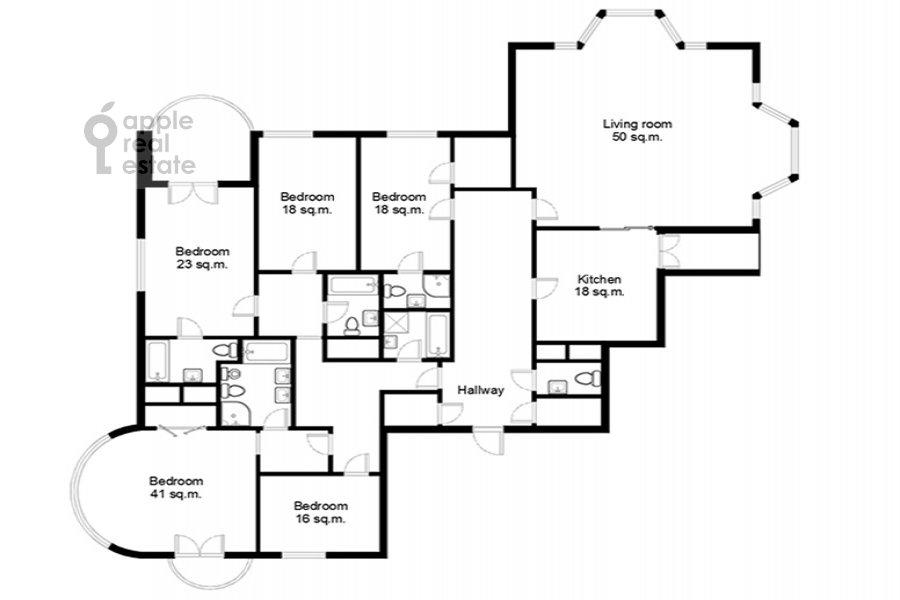 Floor plan of the 6-room apartment at Beregovaya ul. 4k4