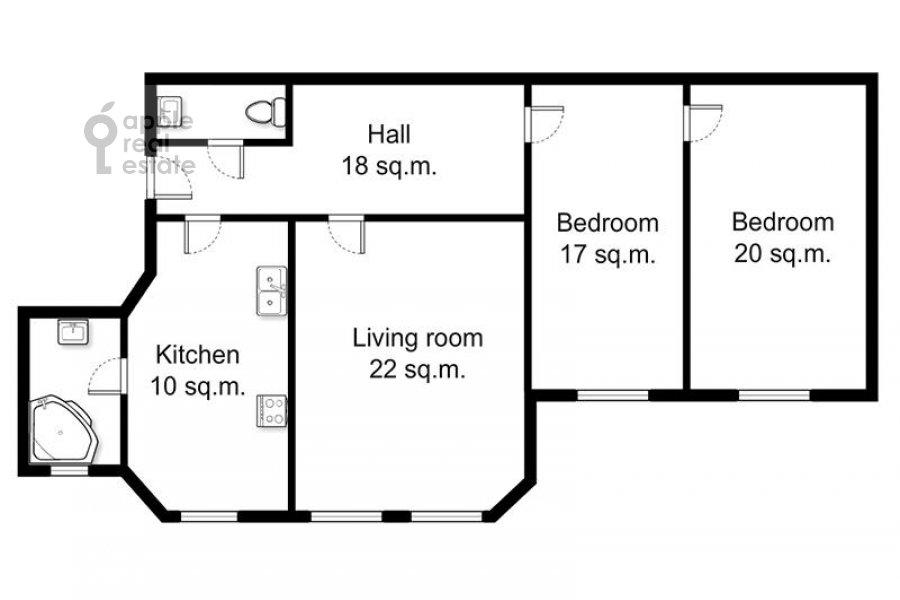 Поэтажный план 3-комнатной квартиры по адресу Цветной бульвар 22с4