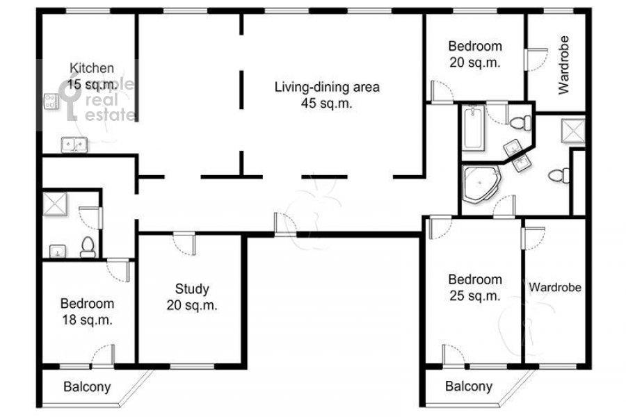 Floor plan of the 5-room apartment at Tverskaya-Yamskaya 1-ya ul. 24