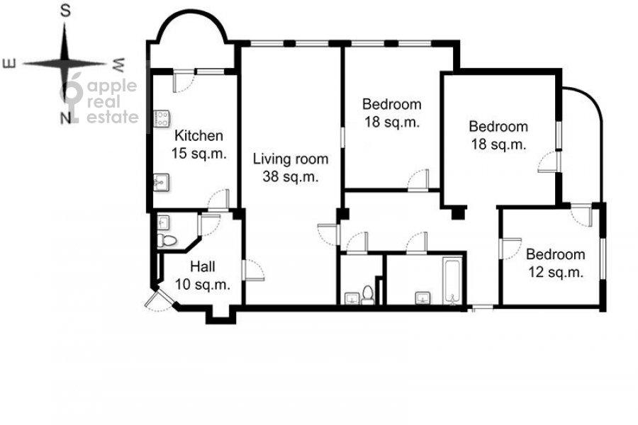 Поэтажный план 4-комнатной квартиры по адресу Тверской бульв. 16с5