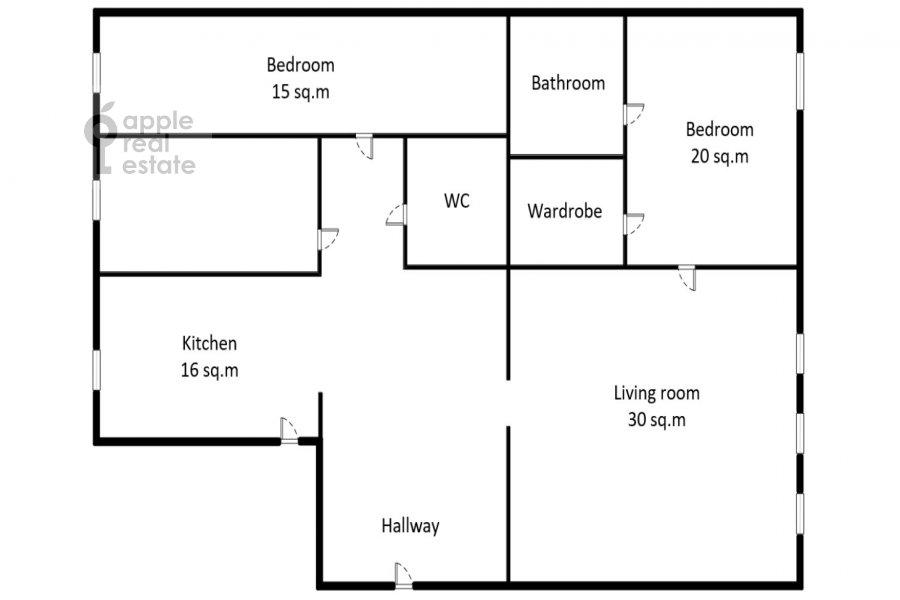 Поэтажный план 3-комнатной квартиры по адресу Дмитровка Малая ул. 23/15с2
