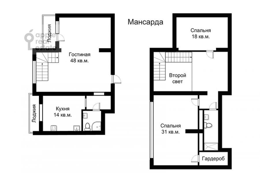 Поэтажный план 3-комнатной квартиры по адресу Машкова ул. 9с1