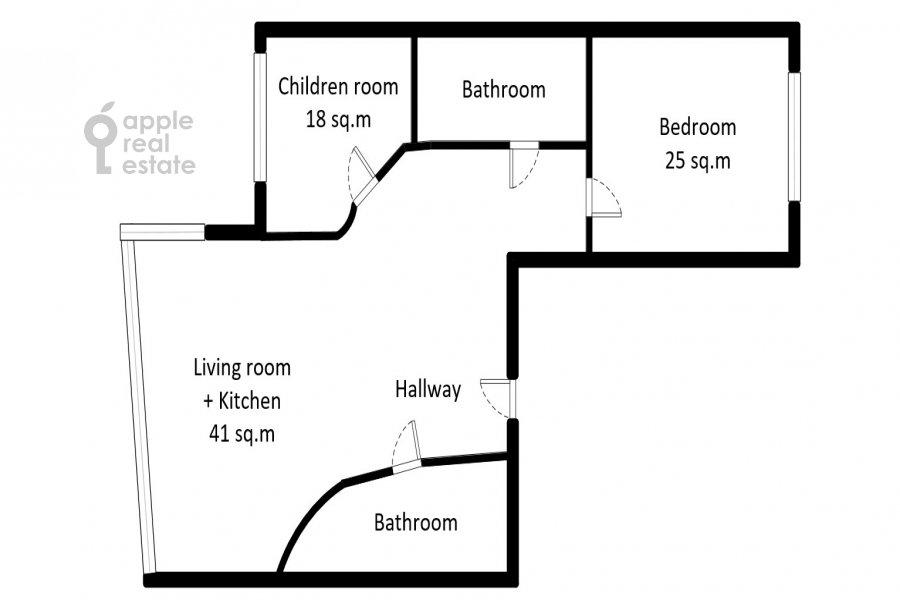 Поэтажный план 3-комнатной квартиры по адресу Кочновский проезд 4к2