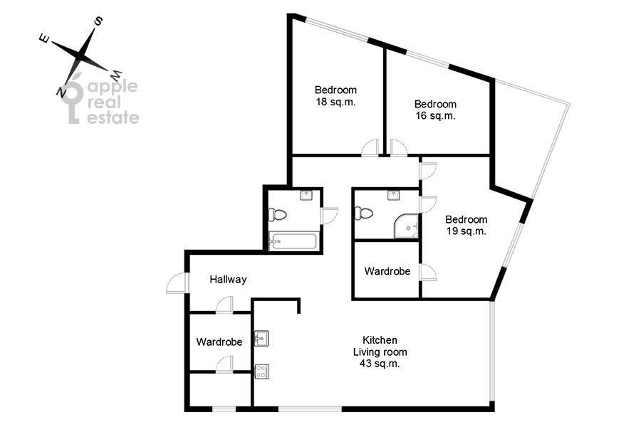Поэтажный план 4-комнатной квартиры по адресу Давыдковская ул. 18
