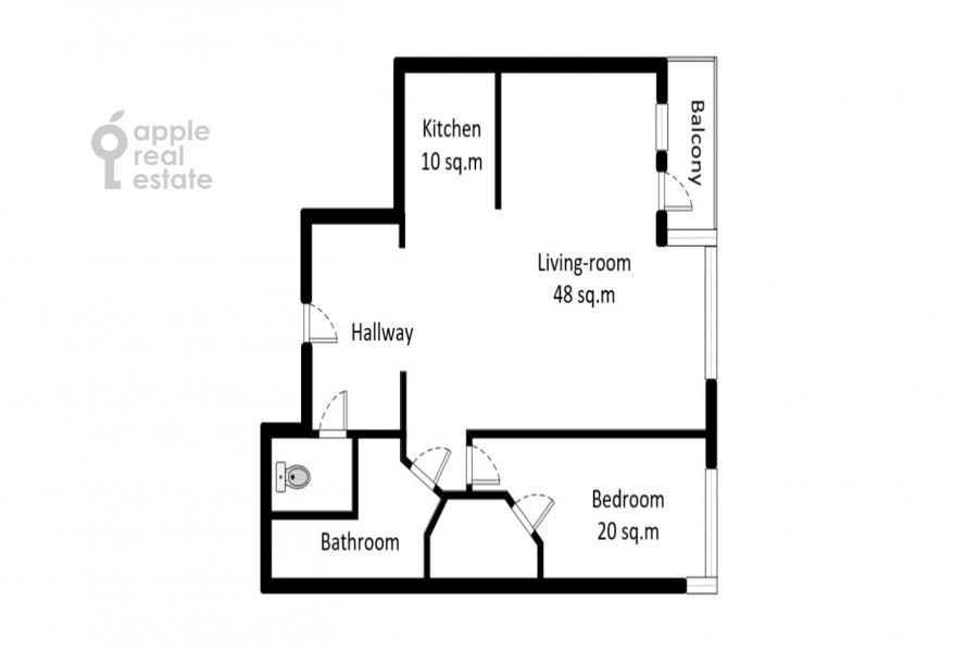 Floor plan of the 2-room apartment at 1-y Tverskoy-Yamskoy per 11
