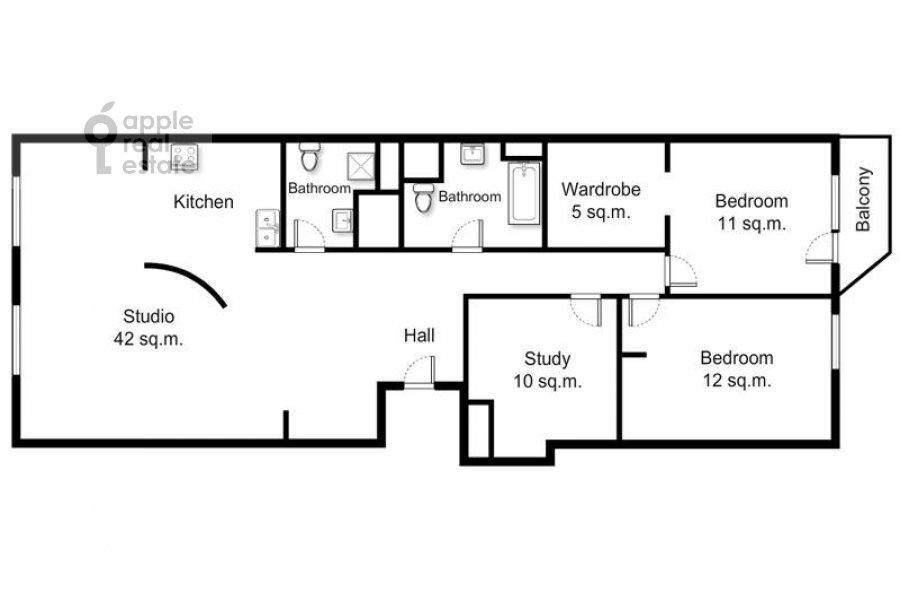 Floor plan of the 4-room apartment at Presnenskiy Val ul. 16/2