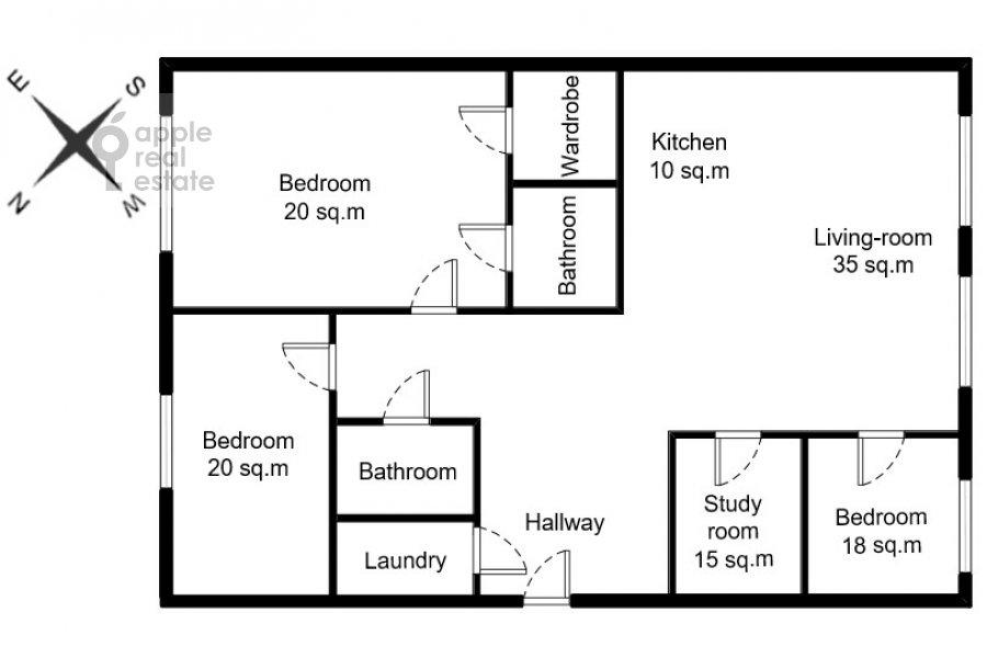 Floor plan of the 4-room apartment at ulitsa Stanislavskogo 11