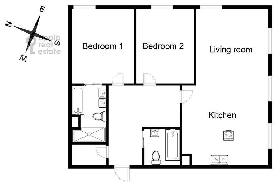 Поэтажный план 3-комнатной квартиры по адресу Большая Полянка 44