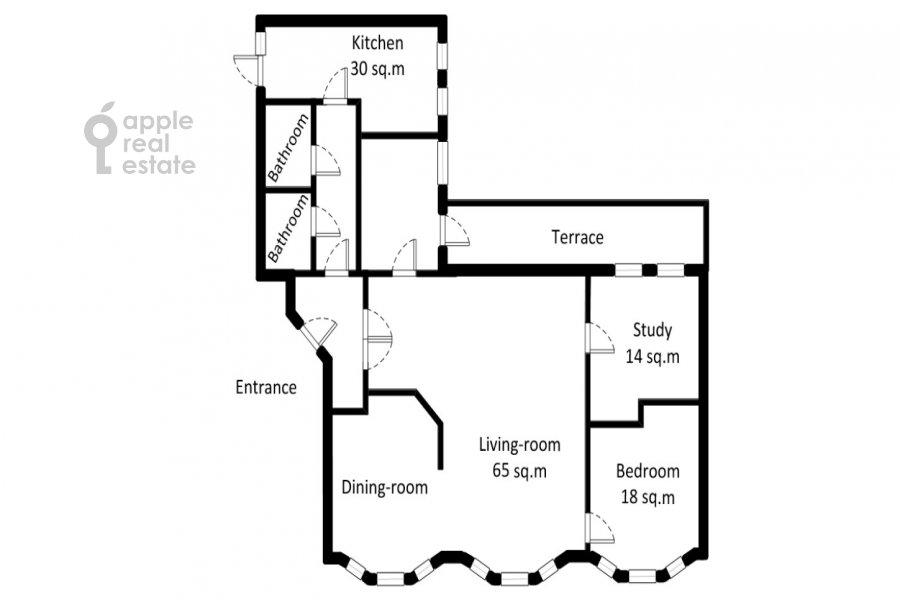 Floor plan of the 4-room apartment at Zhukovskogo ul. 7
