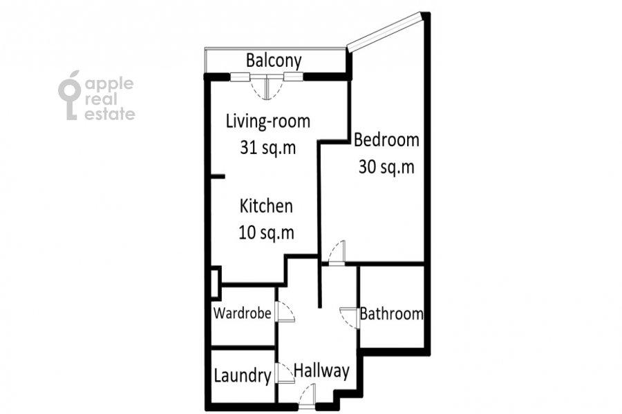 Поэтажный план 2-комнатной квартиры по адресу Нежинская улица 1к3