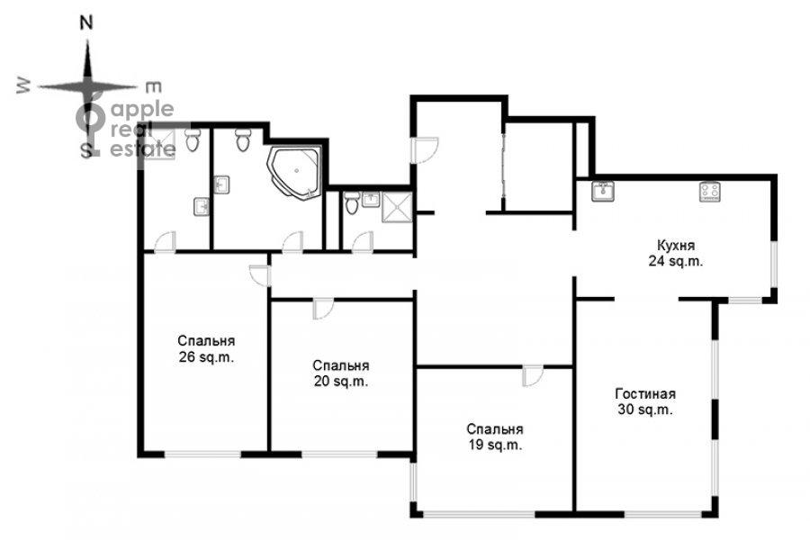 Поэтажный план 4-комнатной квартиры по адресу Мосфильмовская улица 70к6