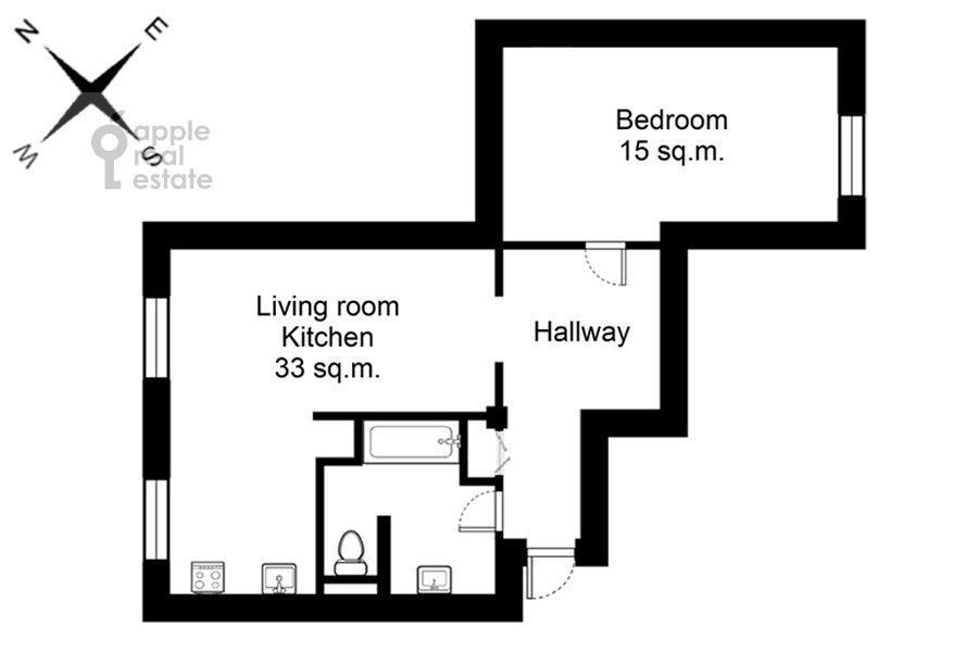 Поэтажный план 2-комнатной квартиры по адресу Кутузовский пр-т. 4к2
