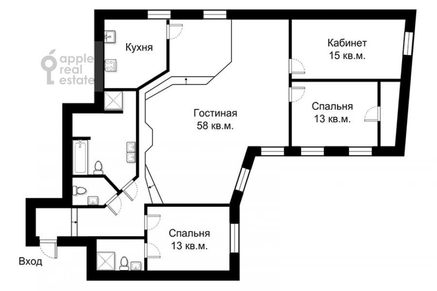 Floor plan of the 4-room apartment at Eropkinskiy per. 11