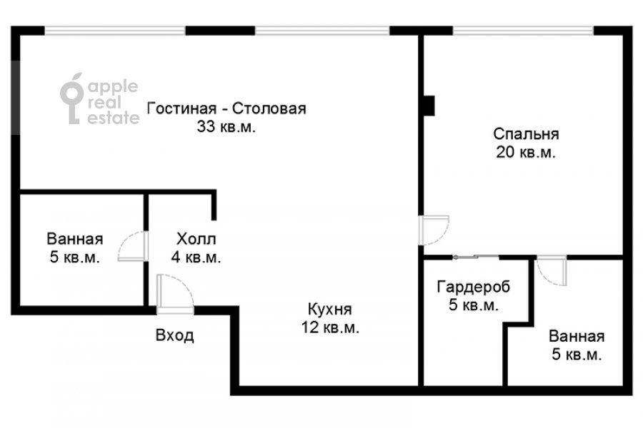 Поэтажный план 2-комнатной квартиры по адресу Комсомольский проспект 42с2
