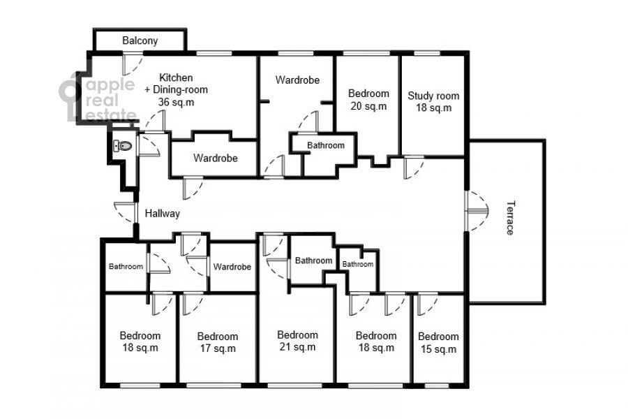 Floor plan of the 6-room apartment at ul. Fadeeva 4A