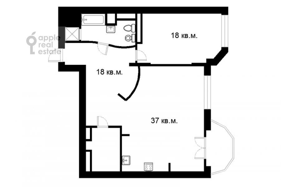Floor plan of the 2-room apartment at Krylatskaya ulitsa 45k1