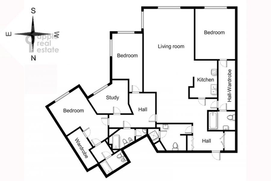 Поэтажный план 5-комнатной квартиры по адресу Зачатьевский 1-й пер. 5