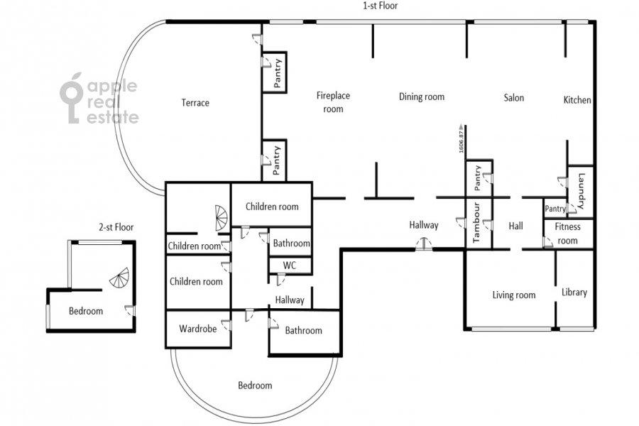 Floor plan of the 6-room apartment at Ivan'kovskoe shosse 5
