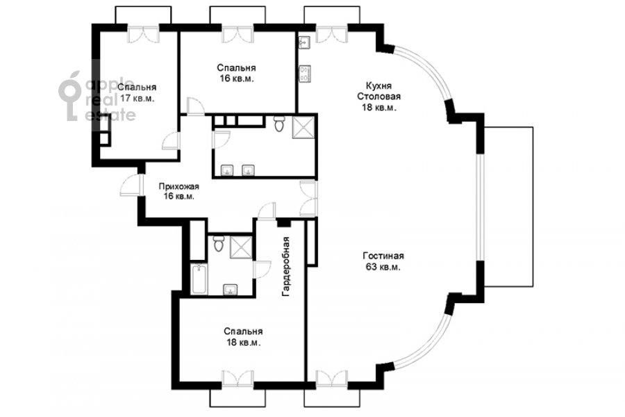Floor plan of the 4-room apartment at Fadeeva ul. 4A