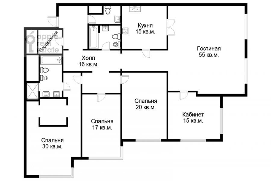 Floor plan of the 5-room apartment at Filippovskiy per. 8