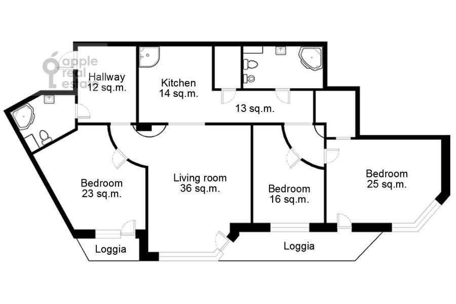 Поэтажный план 4-комнатной квартиры по адресу Сосновая ул. 10