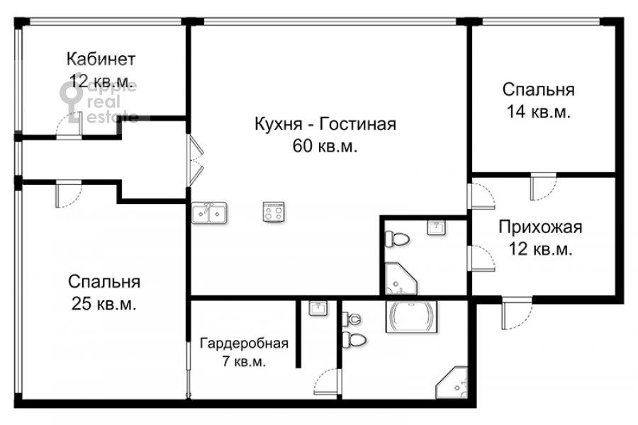 Поэтажный план 4-комнатной квартиры по адресу Климашкина 17С2