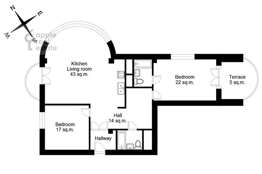 Floor plan of the 3-room apartment at Beregovaya ul. 4k1