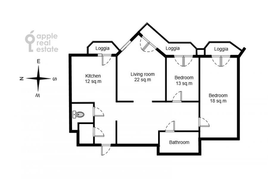 Поэтажный план 3-комнатной квартиры по адресу Мичуринский пр-т. 3