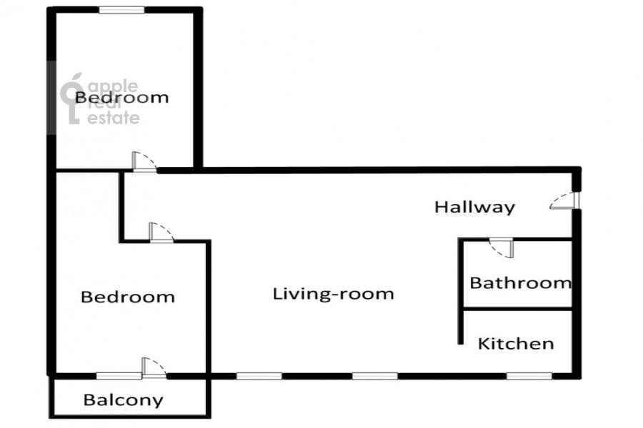 Floor plan of the 3-room apartment at Komsomol'skiy prospekt 19