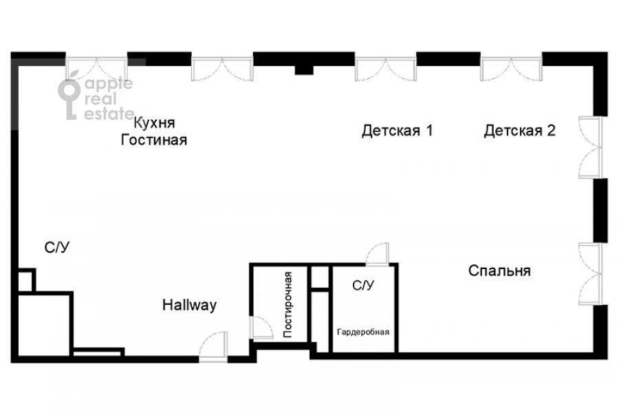 Floor plan of the 3-room apartment at Bol'shaya Sadovaya ul., d. 5, k. 1-2 5