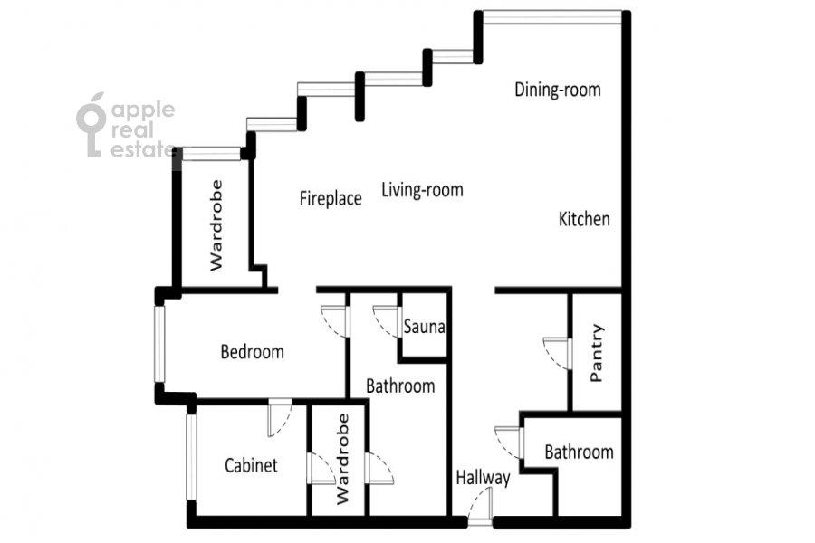 Поэтажный план 3-комнатной квартиры по адресу Нахимовский пр-т. 56