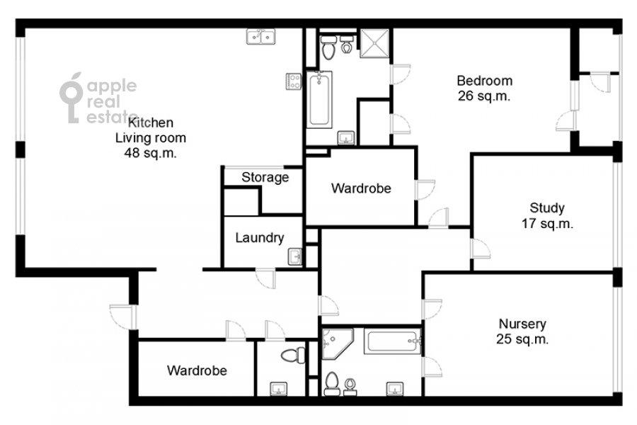 Floor plan of the 4-room apartment at Usacheva ulitsa 2s3