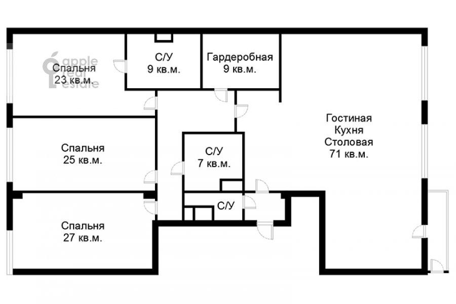Floor plan of the 4-room apartment at Eropkinskiy per. 16/23