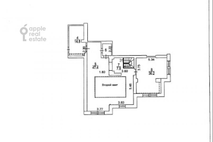 Поэтажный план 3-комнатной квартиры по адресу Нежинская улица 8К3