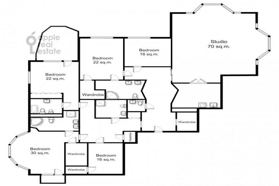 Floor plan of the 6-room apartment at Beregovaya ul. 4k3