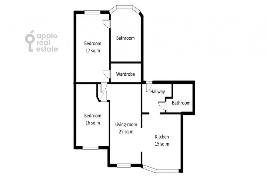 Floor plan of the 3-room apartment at Udal'tsova ul. 87S3