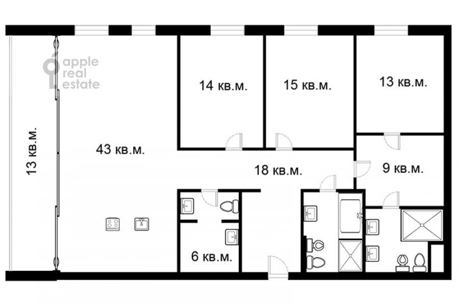 Floor plan of the 4-room apartment at Mosfil'movskaya ul. 1