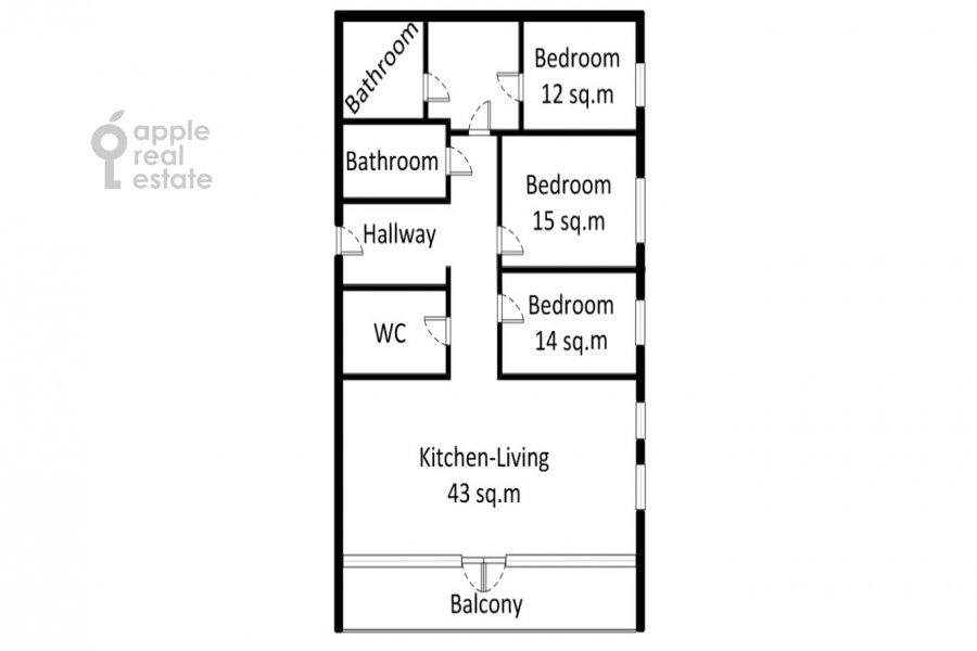 Поэтажный план 4-комнатной квартиры по адресу Мосфильмовская ул. 1