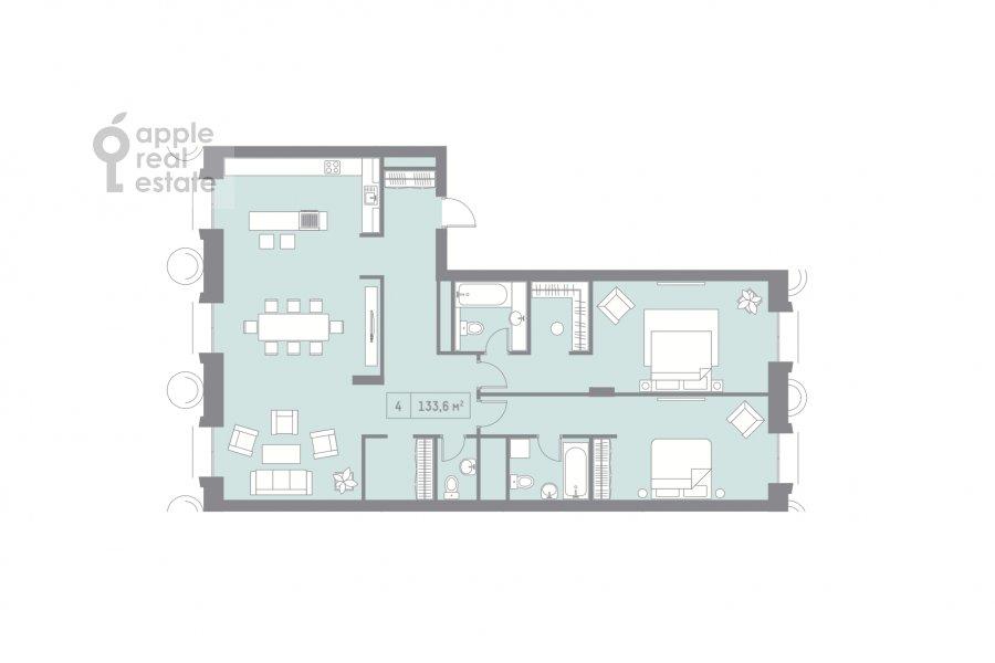 Floor plan of the 4-room apartment at Kutuzovskiy pr-t. 12