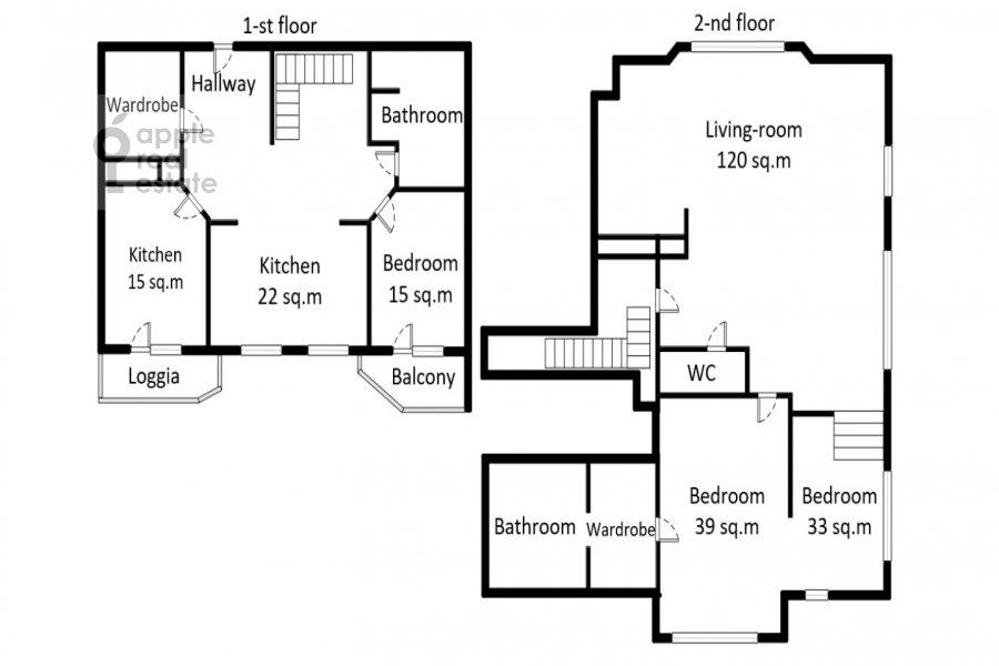 Floor plan of the 5-room apartment at Michurinskiy pr-t. 6k2