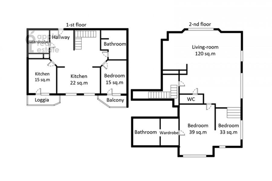 Поэтажный план 5-комнатной квартиры по адресу Мичуринский пр-т. 6к2