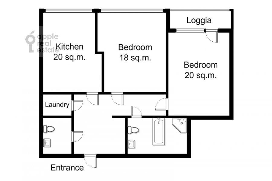 Floor plan of the 2-room apartment at Davydkovskaya ul. 18