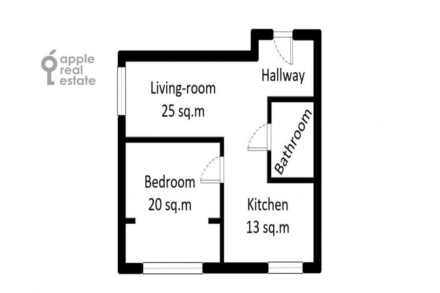 Поэтажный план 2-комнатной квартиры по адресу Большая Грузинская улица 16
