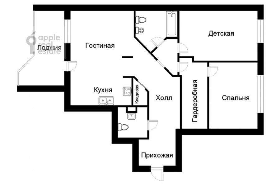 Поэтажный план 3-комнатной квартиры по адресу Университетский проспект 16