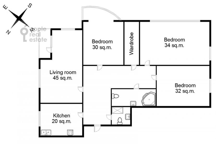 Floor plan of the 4-room apartment at Michurinskiy prospekt 6k2
