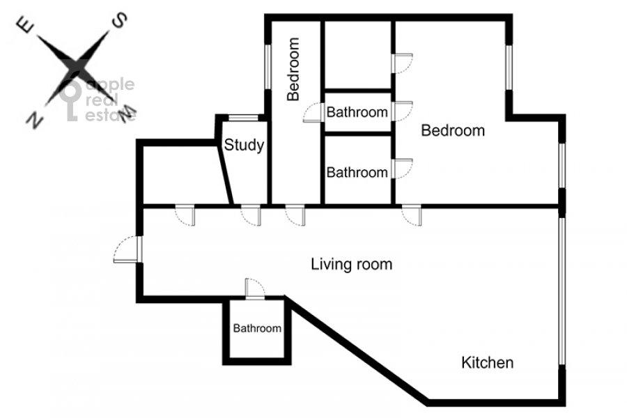 Floor plan of the 4-room apartment at Zagorskogo pr. 11
