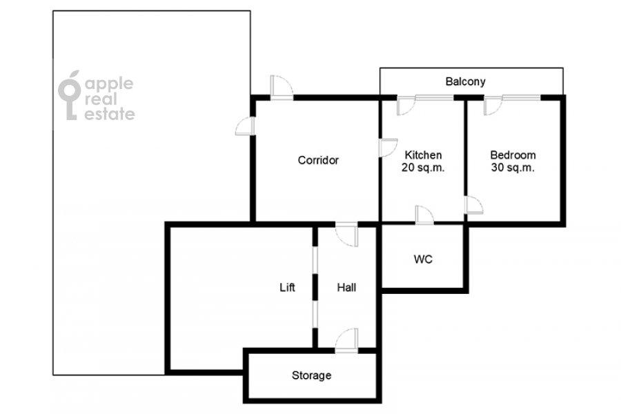 Floor plan of the 1-room apartment at Gruzinskaya Bol'shaya ul. 37s2