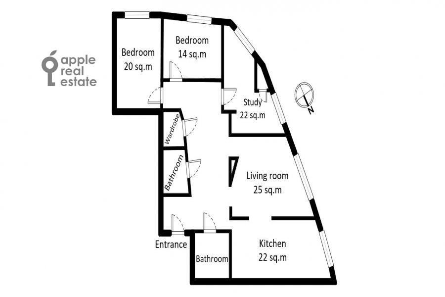 Поэтажный план 4-комнатной квартиры по адресу Профсоюзная улица 41
