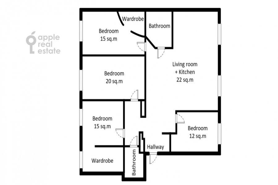 Floor plan of the 5-room apartment at Krasina 24/28